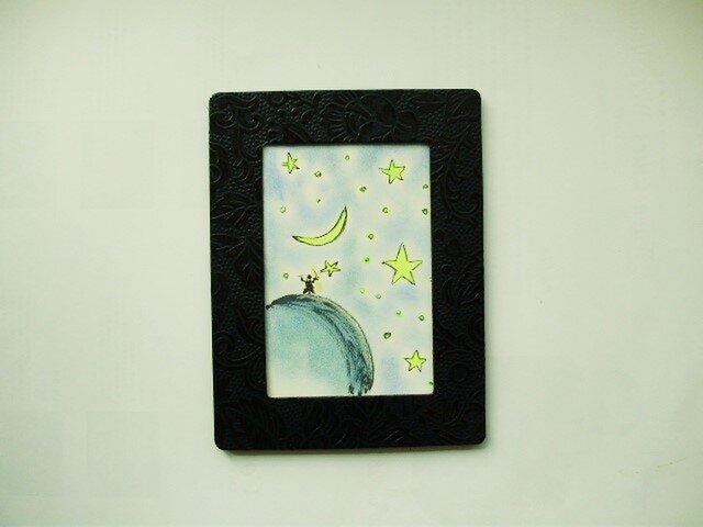 絵画 ペンとクレパスのコラボ画 WONDERFUL NIGHT SKYの画像1枚目
