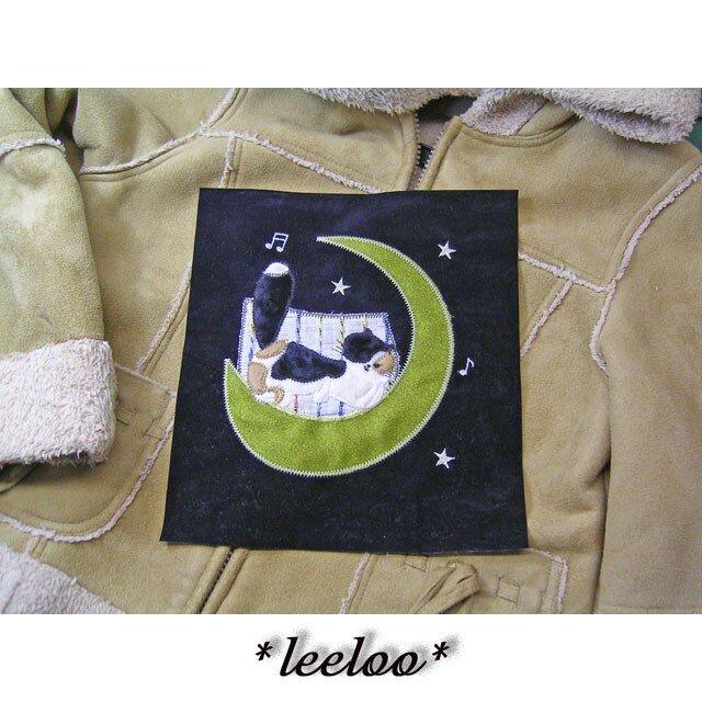 夢見る三毛猫★アップリケ刺繍の画像1枚目