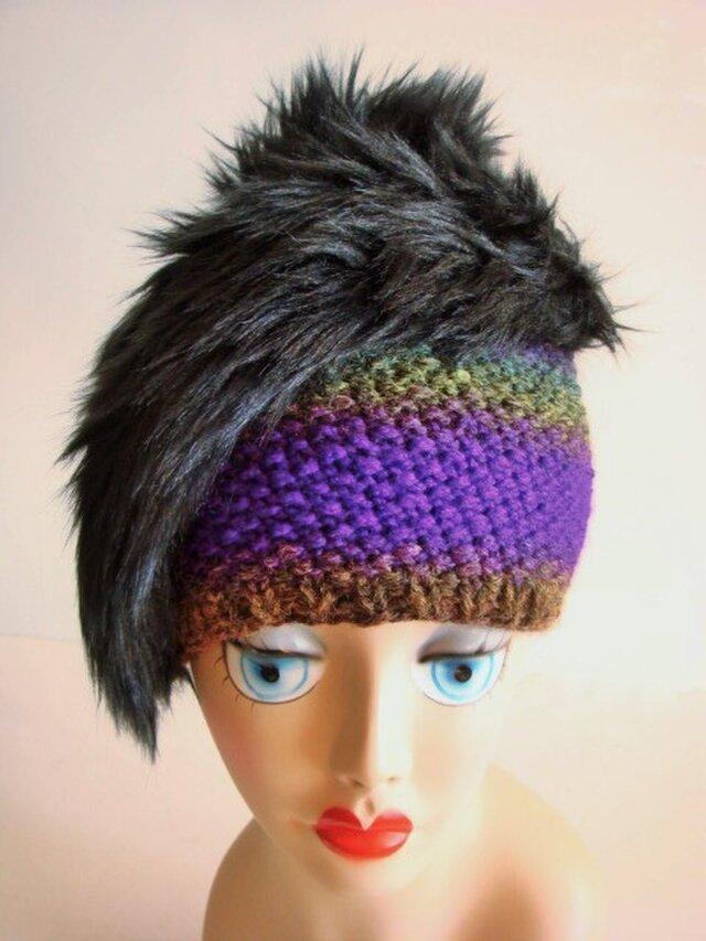 手編みとファーのニット帽<パープル×ブラック>の画像1枚目
