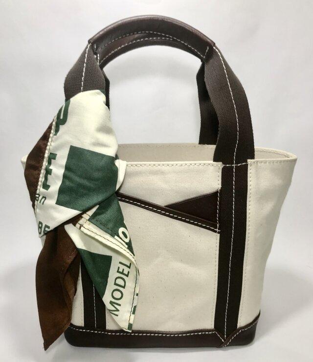 パラフィンキャンバス×本革 スカーフ(ブラウンxグリーン)ミニトートバッグ の画像1枚目