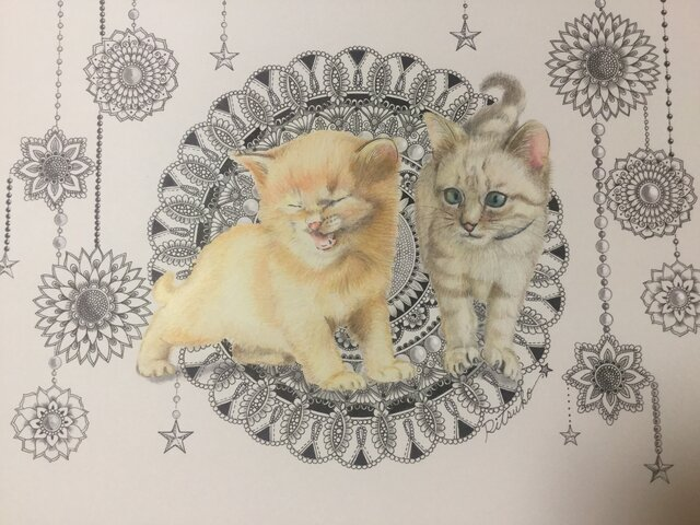 原画 肉筆 一点もの ボールペンアート 猫 小猫 ネコ ねこ 百貨店作家 人気 ボールペン画 絵画の画像1枚目