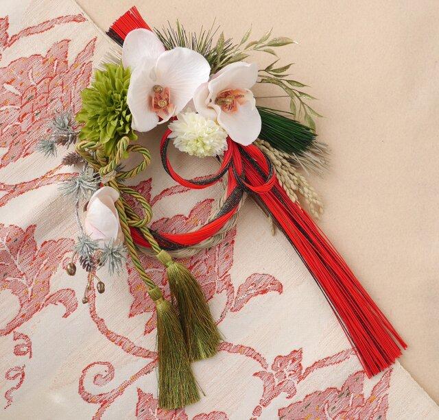 胡蝶蘭のしめ縄飾り  の画像1枚目