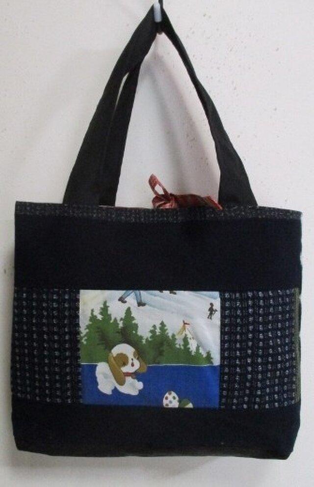 送料無料 絣と藍で作った手提げ袋 3176の画像1枚目