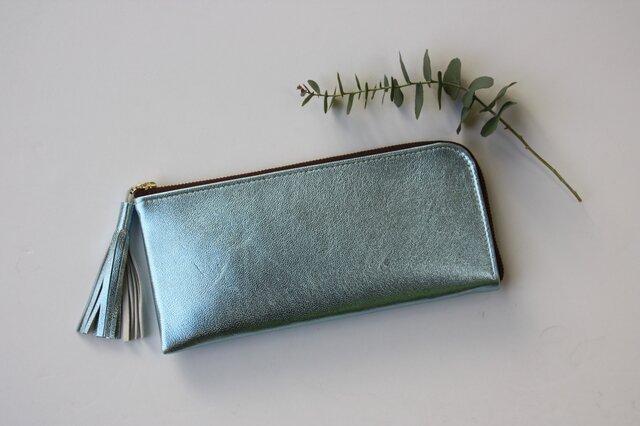 ゴートレザーのスリムな長財布 L字型 ライトブルーの画像1枚目