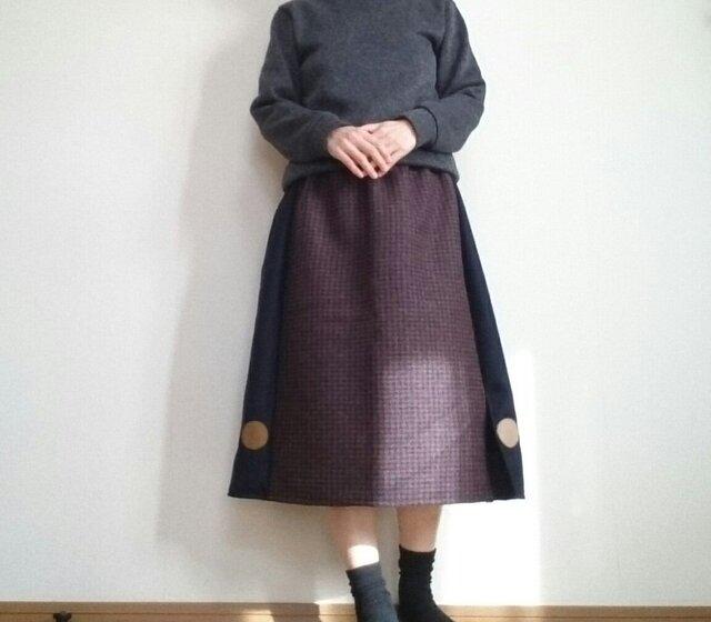 毛混千鳥格子スカートあめ玉並べてウエストゴムの画像1枚目