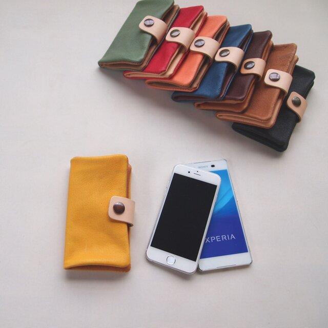 ぶた革*スマホケース【黄】多機種対応*シンプルだけど個性的やわらかなスマホカバー手帳型(iphone8,xperiaの画像1枚目