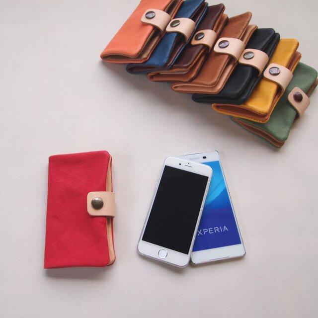 ぶた革*スマホケース【赤】多機種対応*シンプルだけど個性的やわらかなスマホカバー手帳型(iphone8,xperiaの画像1枚目