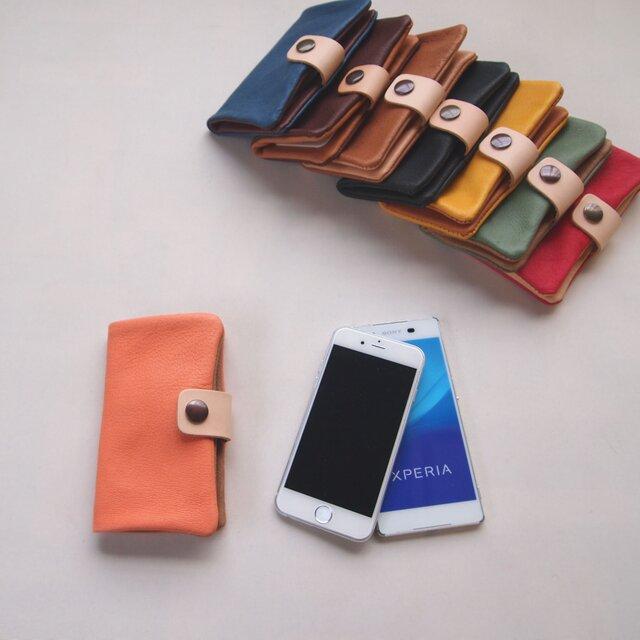 ぶた革*スマホケース【橙】多機種対応*シンプルだけど個性的やわらかなスマホカバー手帳型(iphone8,xperiaの画像1枚目