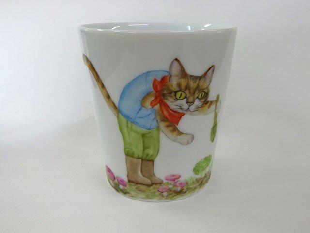アイタケとねこのマグカップ(手描き)の画像1枚目