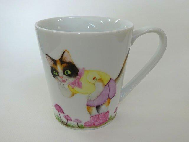 ハナオチバタケとねこのマグカップ(手描き)の画像1枚目