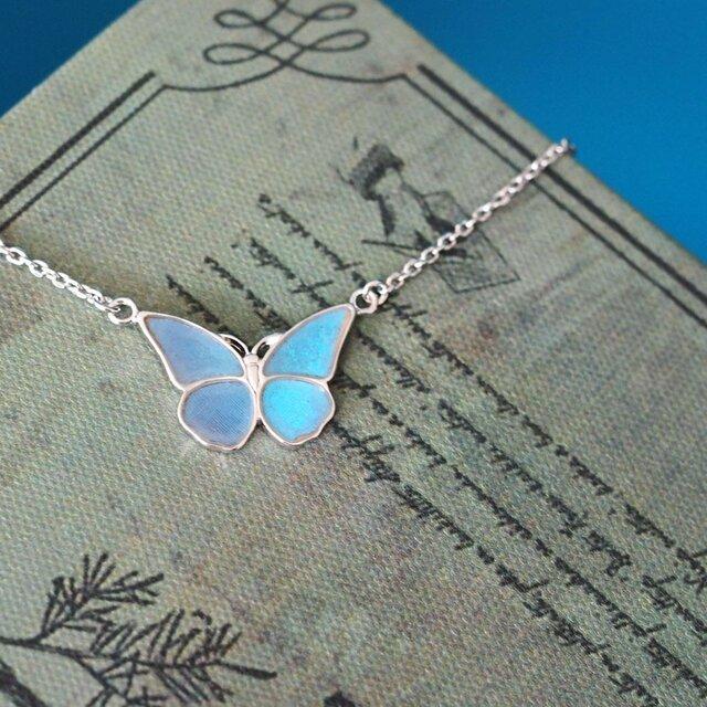 モルフォ蝶の小さなペンダント(まっすぐ)Silverの画像1枚目