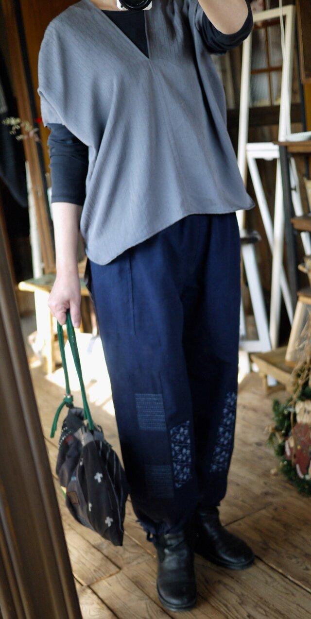 久留米絣のパッチワーク風パンツの画像1枚目