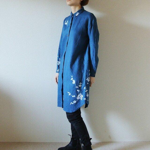 リネン・ロングシャツ ブルー<白梅>の画像1枚目