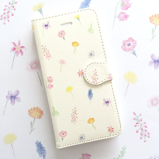 ボタニカルⅢスマホケース 手帳型 【受注生産】アンドロイド iPhoneケース 花柄の画像1枚目