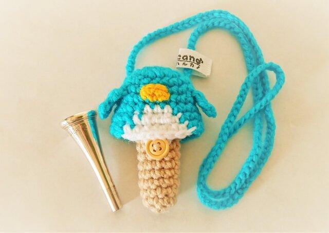 ホルン マウスピースケース(毛糸) ペンギン【ブルー】首掛け用の画像1枚目