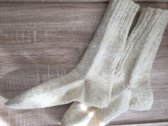 〜26.5cm 天然羊ウール100% **ロング手編み靴下02**の画像1枚目