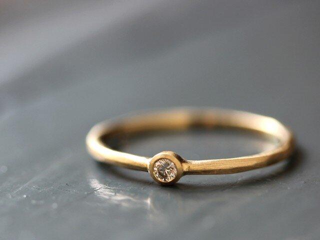 K18 カロン シャンパンダイヤモンドリングの画像1枚目