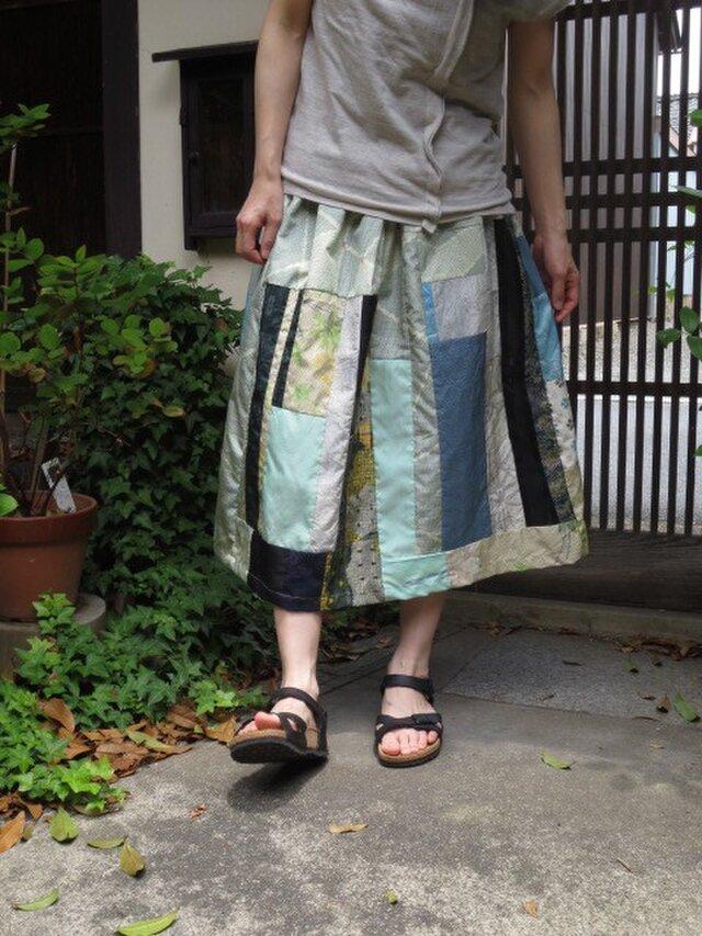 着物リメイク☆絽の透け感もパッチして夏色スカート77cm丈の画像1枚目