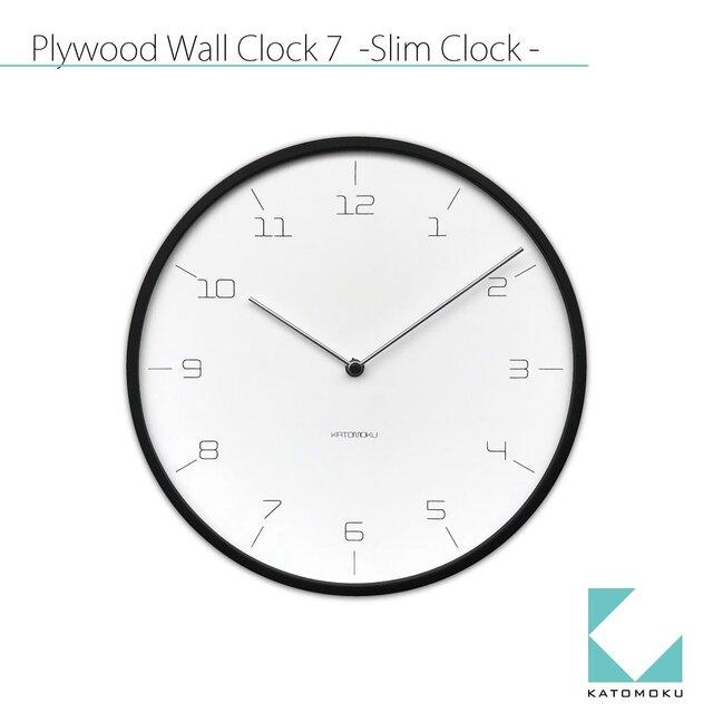KATOMOKU plywood wall clock 7 Slim clock ブラック km-71B 連続秒針の画像1枚目