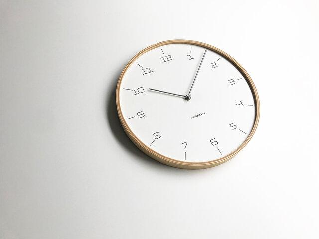 KATOMOKU plywood wall clock 7 Slim clock ナチュラル km-71N 連続秒針の画像1枚目
