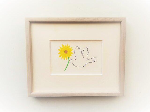 【受注制作】「幸せを運ぶ(向日葵)」イラスト原画 ※額縁入りの画像1枚目