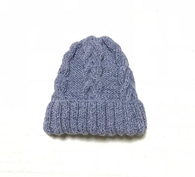 ニット帽 グレー×ブルー 男女兼用の画像1枚目