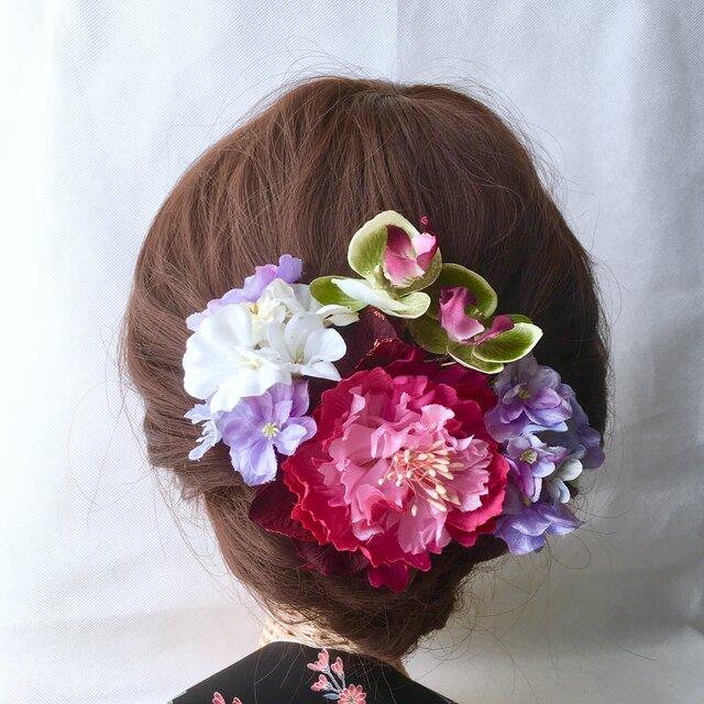 ピオニーと紫陽花の髪飾りの画像1枚目