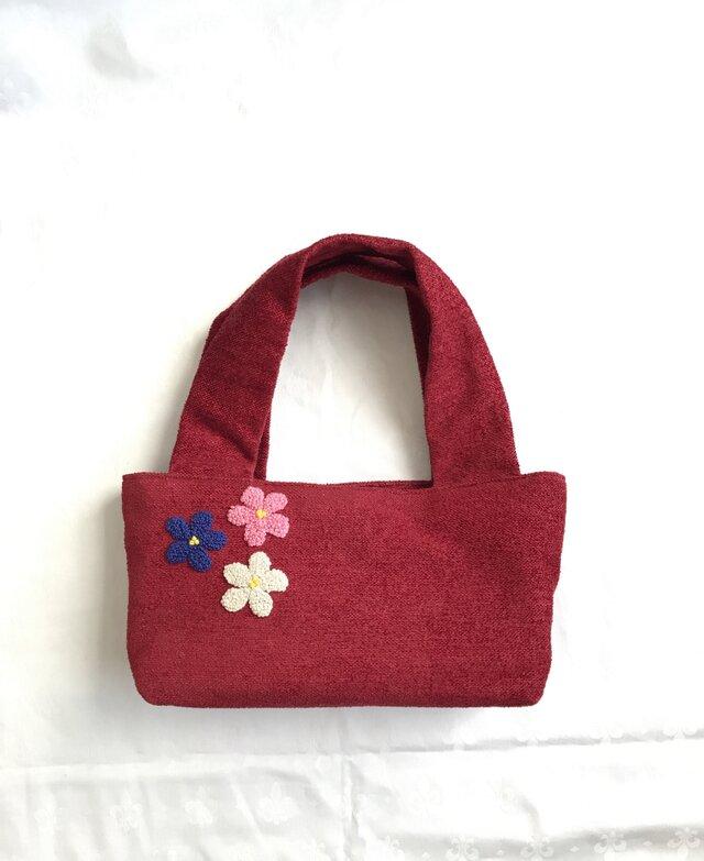 三色お花の刺繍バッグ(あか)の画像1枚目