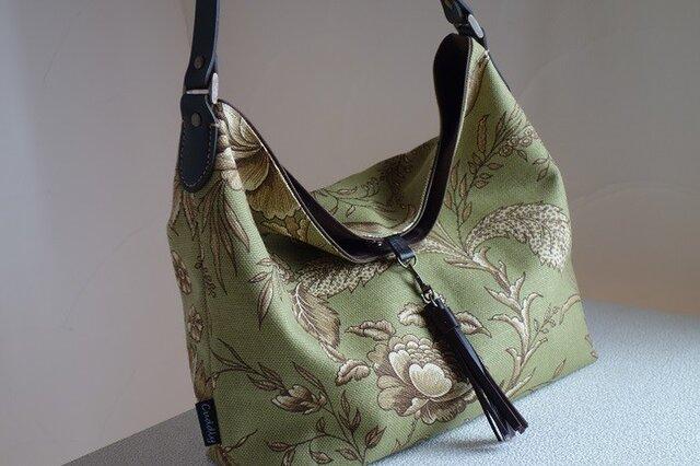 ワンハンドルのくったりバッグ(輸入生地: ウェバリーグリーン)の画像1枚目