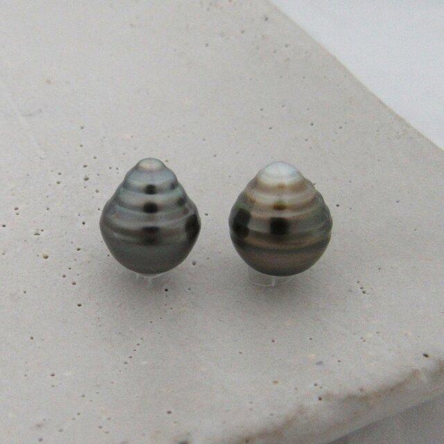 9mm♪ピアスに☆ 黒蝶真珠バロック 無穴ルース2Pセット 09-38B2の画像1枚目