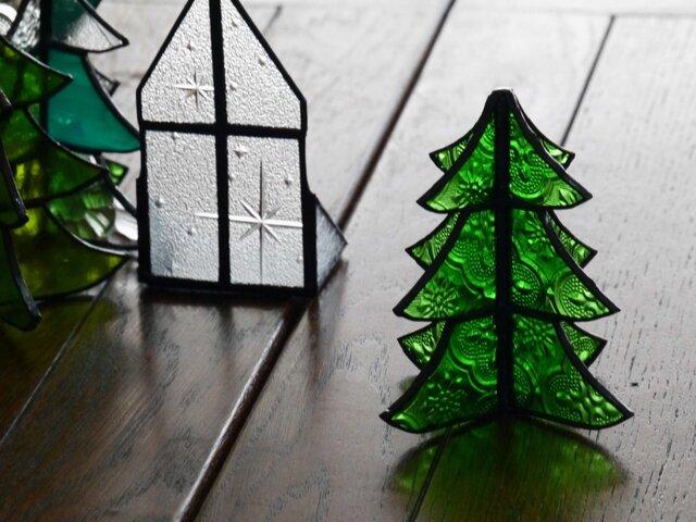 ステンドグラス クリスマスツリー a+e(シルバー仕上げ)の画像1枚目