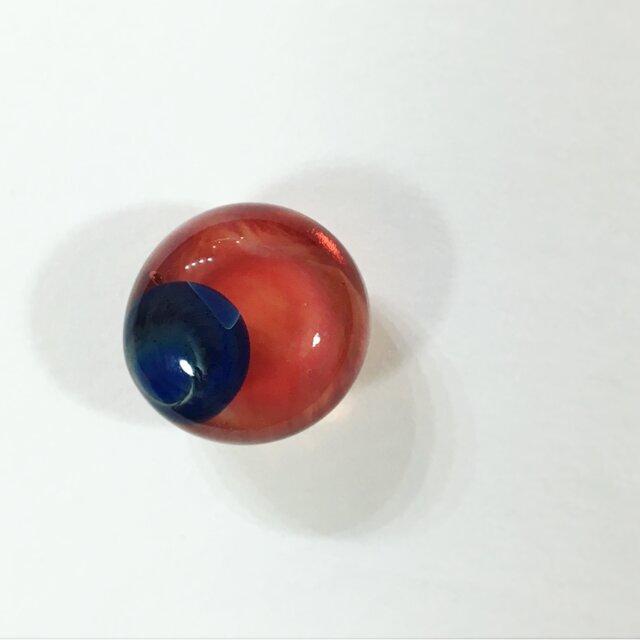 色溜 /red+blue dot. -ガラスの帯留-の画像1枚目