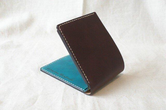 二つ折り財布《DarkBrown&TurquoiseBlue》の画像1枚目