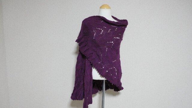 パープル(紫)の半円形ショール(メリノ*アルパカ*シルク)の画像1枚目