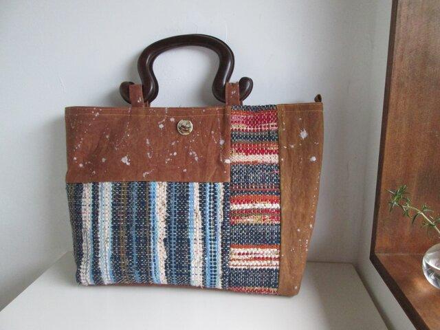 柿渋帆布+裂き織りバッグの画像1枚目
