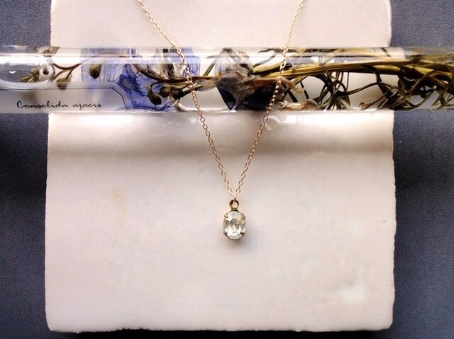 Vintage Stone Necklace■Crystal■O8の画像1枚目