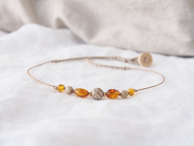Coral&Amber Short Necklaceの画像1枚目