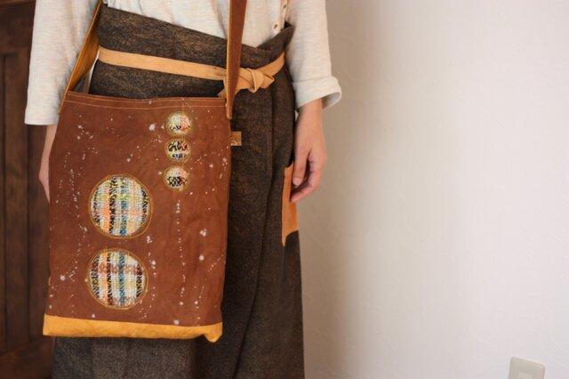柿渋帆布+手織りショルダーバッグの画像1枚目