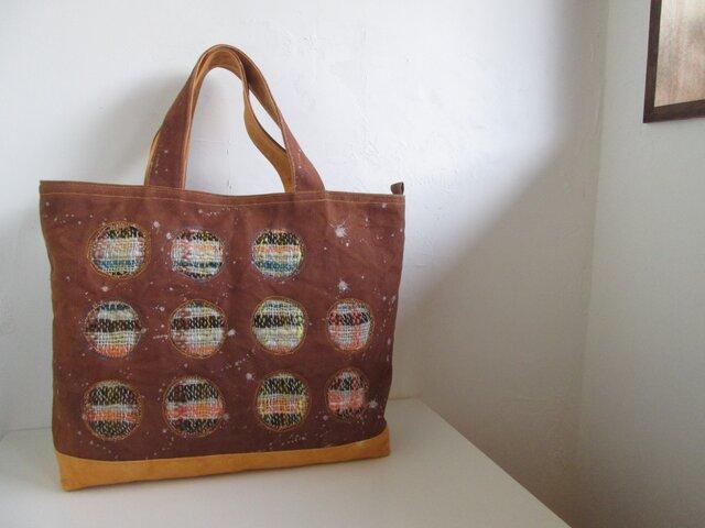 柿渋帆布+手織りトートバッグの画像1枚目