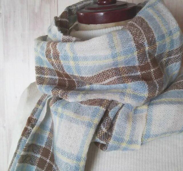 手織り カシミヤタータンチェックマフラー ブルードレス 313の画像1枚目