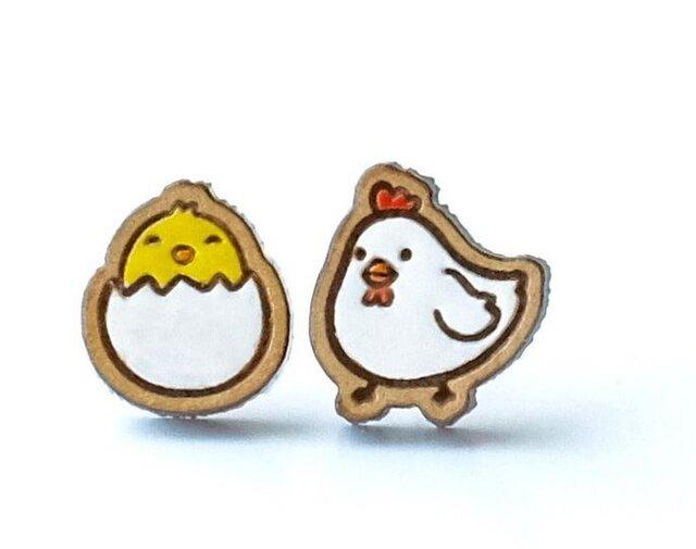 『田田製作所』手作り レディースピアス 卵&鳥の画像1枚目