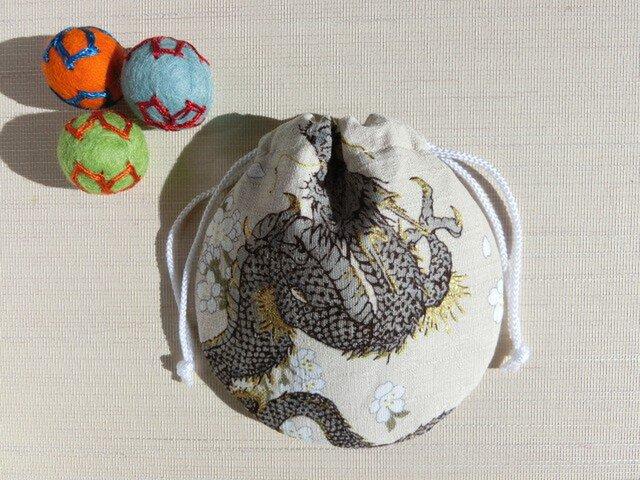 ミニ巾着 龍と桜 アイボリー 御守り 小物収納 プレゼントにも(再販)の画像1枚目
