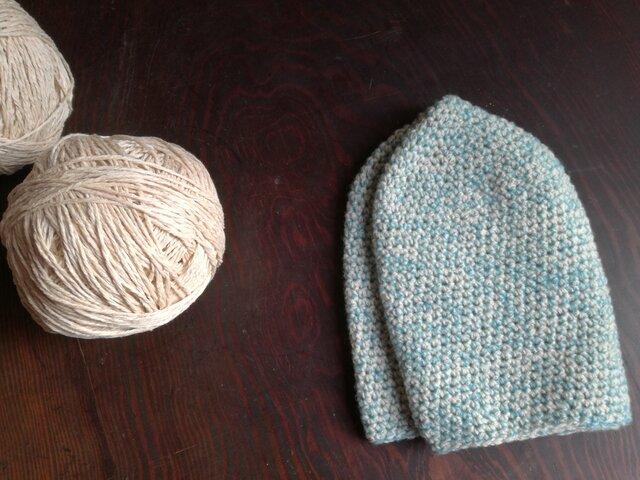 カシミアの手編帽子の画像1枚目