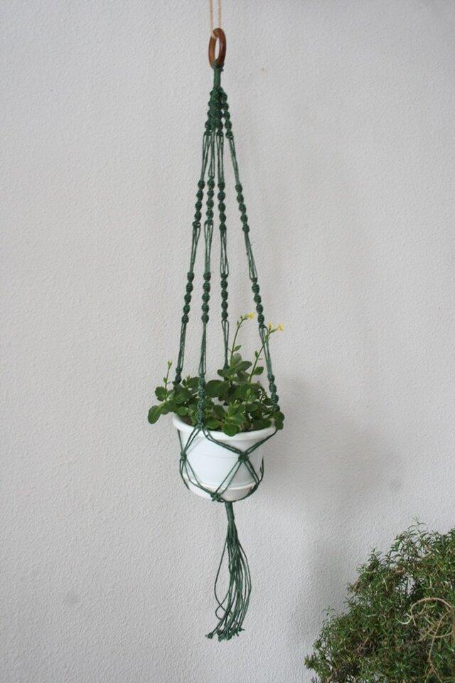 マクラメ編みプラントハンガー / ウッドリングと緑のジュートラミー(麻ひも)での画像1枚目
