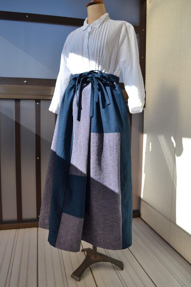 着物リメイク 紬のぜいたくなパッチワーク J-12の画像1枚目