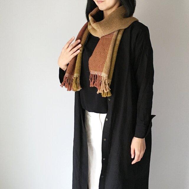 """【ウール:秋冬】ユニセックス:3 way 手織りマフラー """"Beige Mix 3""""の画像1枚目"""