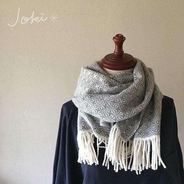 [再販]手織りオーバーショットカシミヤマフラー gray の画像1枚目