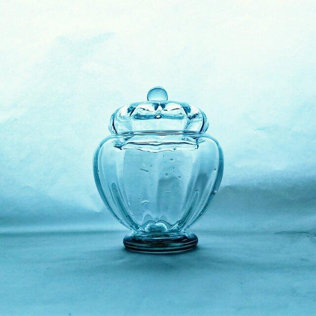 ブリキ色のガラスのボンボン入れの画像1枚目