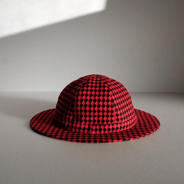 ◆ sale ◆ つばの薄い帽子 - ウール 赤黒 ダイヤ -の画像1枚目