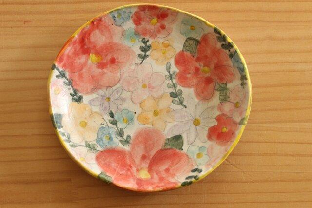 粉引きカラフルお花のオーバル皿。の画像1枚目